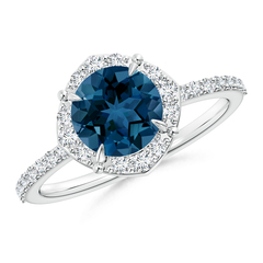 Claw Set Vintage Style Diamond Halo London Blue Topaz Ring