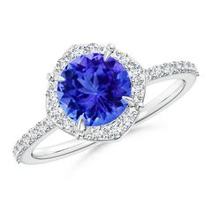 Claw-Set Vintage Diamond Halo Round Tanzanite Ring