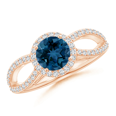 Vintage Style London Blue Topaz Ring with Diamond Halo