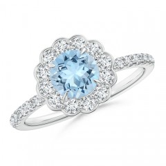 Vintage Aquamarine Flower Ring with Diamond Accents