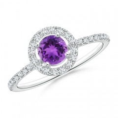 Floating Amethyst Halo Ring with Diamond Accents