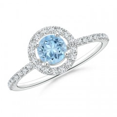 Floating Aquamarine Halo Ring with Diamond Accents