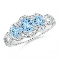 Floating Three Stone Aquamarine Ring with Diamond Halo