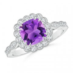 Cushion Amethyst and Diamond Halo Ring with Accents