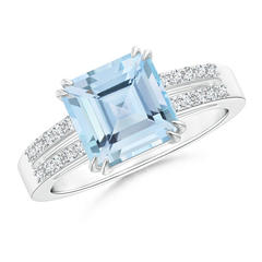 Claw Set Emerald Cut Aquamarine Ring with Diamond Accent