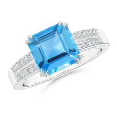 Claw Set Emerald Cut Swiss Blue Topaz Solitaire Ring with Diamonds
