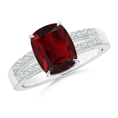 Cushion Cut Garnet Split Shank Ring with Diamond Accents