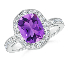 Cushion Cut Amethyst Halo Ring with Diamond Accents