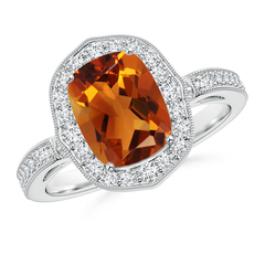 Cushion Cut Citrine Halo Ring with Diamond Accents