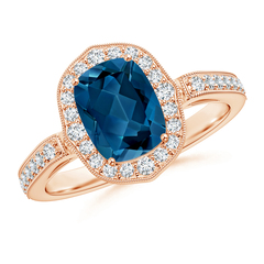 Cushion London Blue Topaz Halo Ring with Diamond Accents
