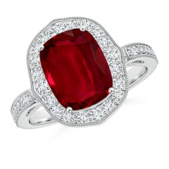 Ruby Ornate Halo Ring (GIA Certified Ruby)