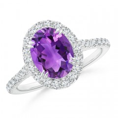 Double Claw Oval Amethyst Halo Ring with Diamond Accents