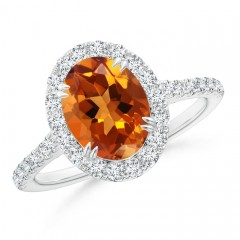 Double Claw Oval Citrine Halo Ring with Diamond Accents