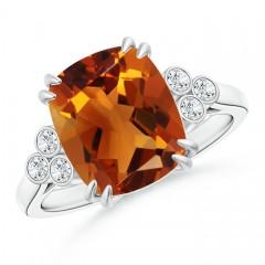 Solitaire Cushion Cut Citrine Ring with Trio Diamonds