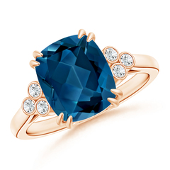 Solitaire Cushion London Blue Topaz Ring with Trio Diamonds