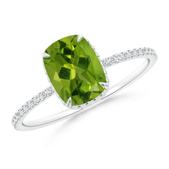 Thin Shank Cushion Cut Peridot Ring With Diamond Accents