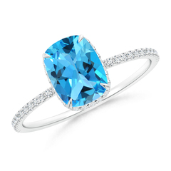 Thin Shank Cushion Swiss Blue Topaz Ring With Diamond Accents