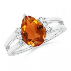 Solitaire Pear Citrine Ring With Triple Diamond Accents