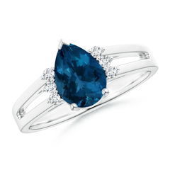 Pear London Blue Topaz Ring with Triple Diamond Accents