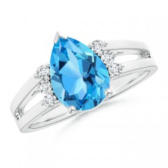 Solitaire Pear Swiss Blue Topaz Ring With Triple Diamond Accents