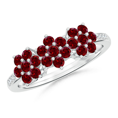 Classic Triple Flower Garnet Ring with Diamond Accents