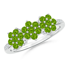 Classic Triple Flower Peridot Ring with Diamond Accents