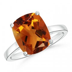 Classic Cushion Cut Citrine Solitaire Engagement Ring
