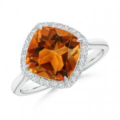 Cushion Cut Citrine Statement Ring with Diamond Halo