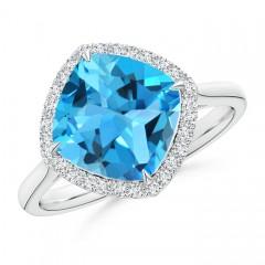 Cushion Cut Swiss Blue Topaz Statement Ring with Diamond Halo
