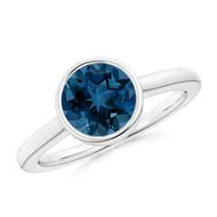 Bezel Set Round London Blue Topaz Solitaire Engagement Ring