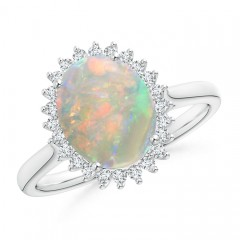 Diamond Halo Vintage Oval Opal Cocktail Ring