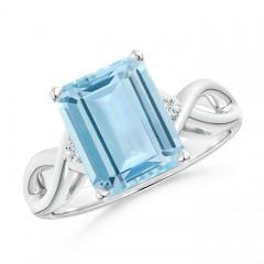Twist Shank Emerald Cut Aquamarine Statement Ring