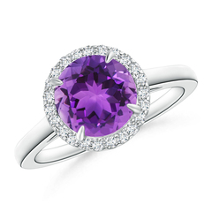 Cathedral Round Amethyst and Diamond Halo Ring