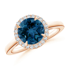 Round London Blue Topaz and Diamond Cathedral Halo Ring