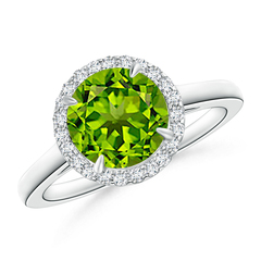 Cathedral Round Peridot and Diamond Halo Ring
