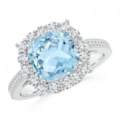Cushion Aquamarine Cocktail Ring with Diamond Halo