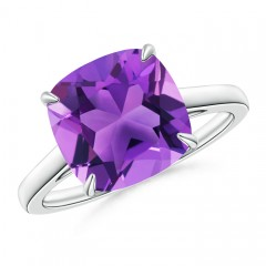 Vintage Solitaire Cushion Cut Amethyst Cocktail Ring