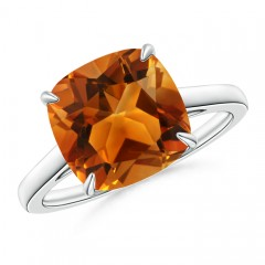 Vintage Solitaire Cushion Cut Citrine Cocktail Ring