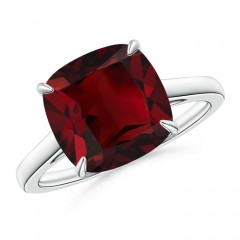 Vintage Solitaire Cushion Cut Garnet Cocktail Ring