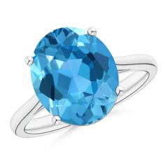 Classic Prong Set Solitaire Oval Swiss Blue Topaz Cocktail Ring