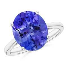 Classic Prong Set Solitaire Oval Tanzanite Cocktail Ring
