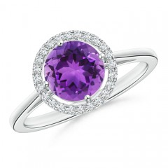 Cathedral Floating Round Amethyst Halo Ring with Diamond