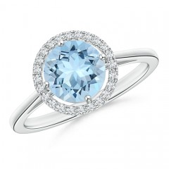 Cathedral Floating Round Aquamarine Halo Ring with Diamond