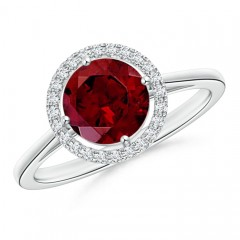 Cathedral Floating Round Garnet Halo Ring with Diamond