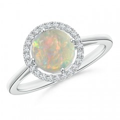 Cathedral Floating Round Opal Halo Ring with Diamond