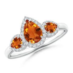 Claw Set Pear Citrine and Diamond Halo Three Stone Ring