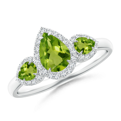 Claw Set Pear Peridot and Diamond Halo Three Stone Ring