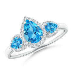 Claw Set Pear Swiss Blue Topaz and Diamond Halo Three Stone Ring