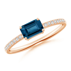East West Emerald Cut London Blue Topaz Ring with Diamonds