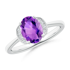 Solitaire Oval Amethyst and Diamond Collar Ring